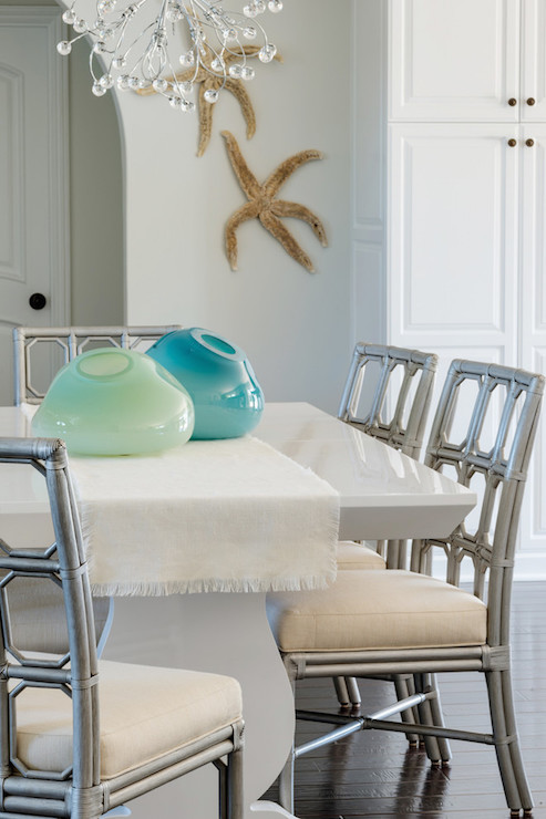 White Dining Table with Gray Dining Chairs  Cottage