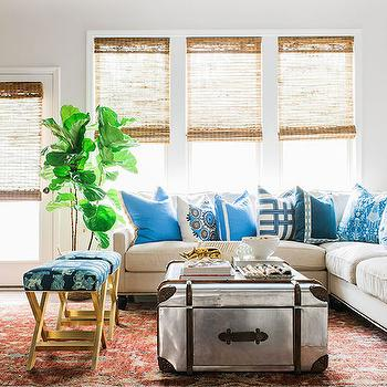 what size rug for living room sectional curtains online shopping metal trunk coffee table design ideas