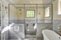 Shower With Marble Wainscoting Design Ideas