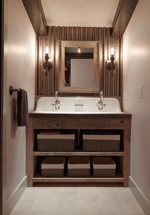 Galvanized Metal Backsplash  Country  Bathroom  Artistic Designs for Living
