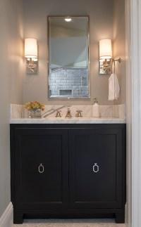 Black Bathroom Vanity with Ring Pulls - Transitional ...