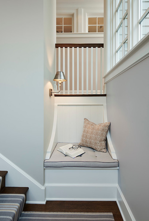 Staircase With Reading Nook Transitional Entrance