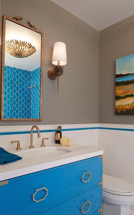 Gray and Turquoise Bathrooms  Contemporary  Bathroom  C2 Wall Street  Artistic Designs for