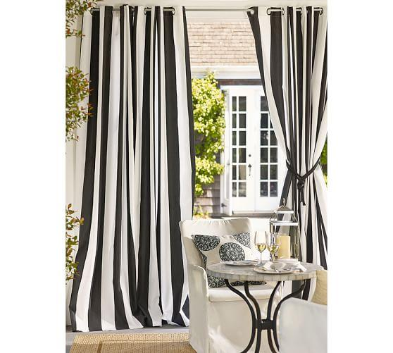 Black And White Outdoor Stripe Curtains