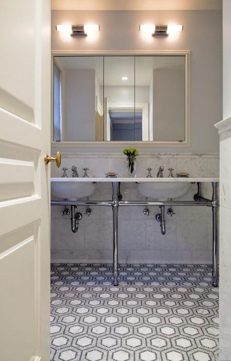 Gray Herringbone Brick Floor Tiles  Transitional  Bathroom