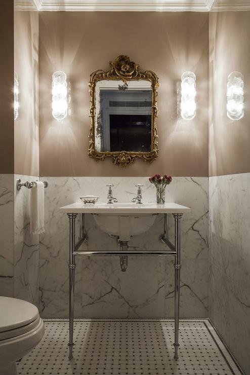Marble Half Wall  Transitional  Bathroom  Vella Interiors
