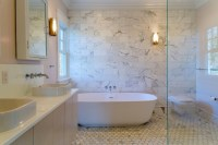 Bathroom with Marble Accent Wall - Transitional - Bathroom