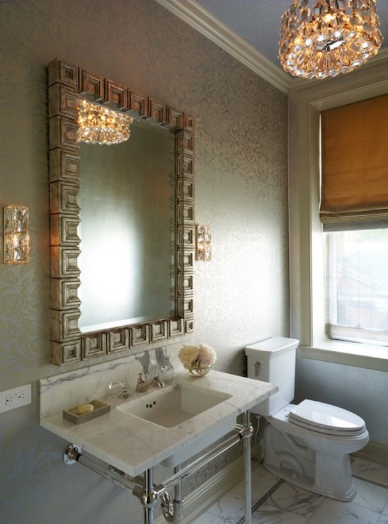 Greek Key Vanity Mirror  Transitional  Bathroom