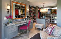 Walk In Closet with Mirrored Makeup Vanity - Transitional ...