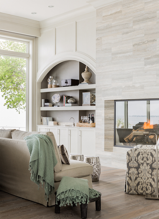 Living Room with Arched Built In Alcoves  Transitional