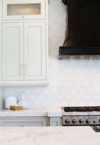 White Arabesque Tile Backsplash - Transitional - Kitchen