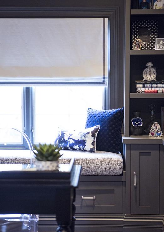 gray and blue living room ideas curtain in built window seat design