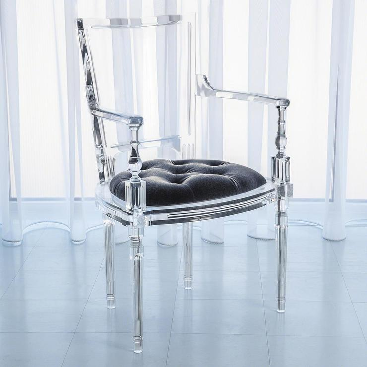 acrylic side chair with cushion ergonomic grey global views marilyn pewter gray arm
