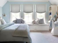 Blue Bedroom with Gray Nightstand - Transitional - Bedroom