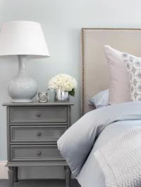 Blue Bedroom with Gray Nightstand