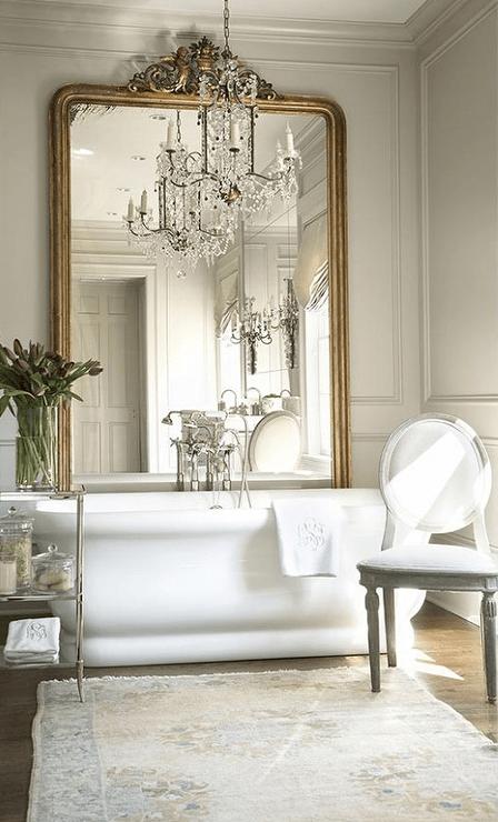 Floor Mirror Behind Tub  French  Bathroom