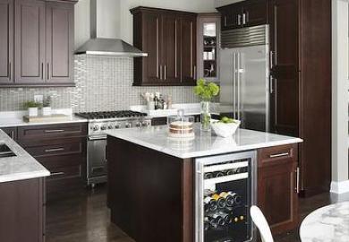 Kitchen Dark Cabinets Light Island