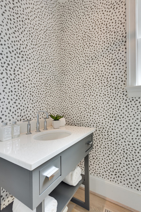 Powder Room with Thibaut Tanzania Wallpaper  Contemporary  Bathroom