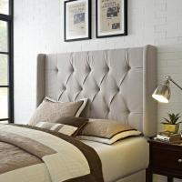 Wingback Tufted Ivory Upholstered Headboard