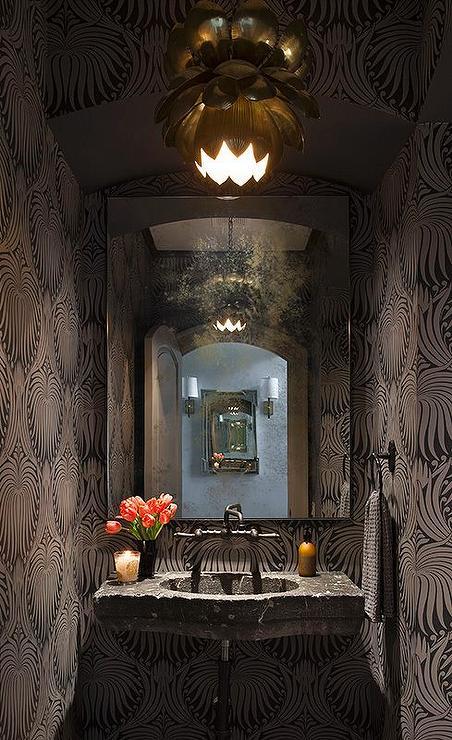 Powder Room with Lotus Wallpaper  Contemporary  Bathroom