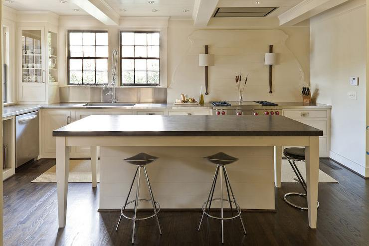 Cream Kitchen Island With Black Countertop Transitional