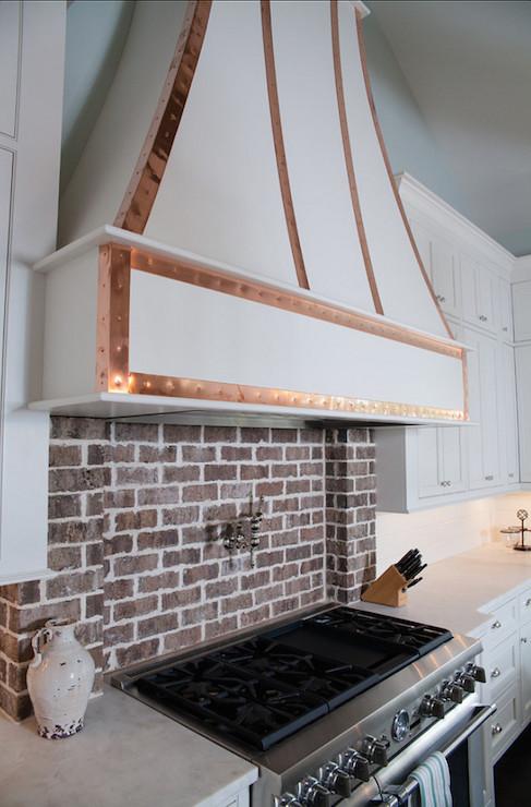 Exposed Brick Cooktop Backsplash  Transitional  Kitchen