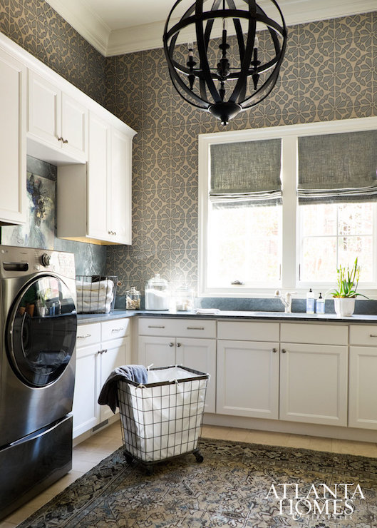 Laundry Room with Soapstone Countertops  Transitional