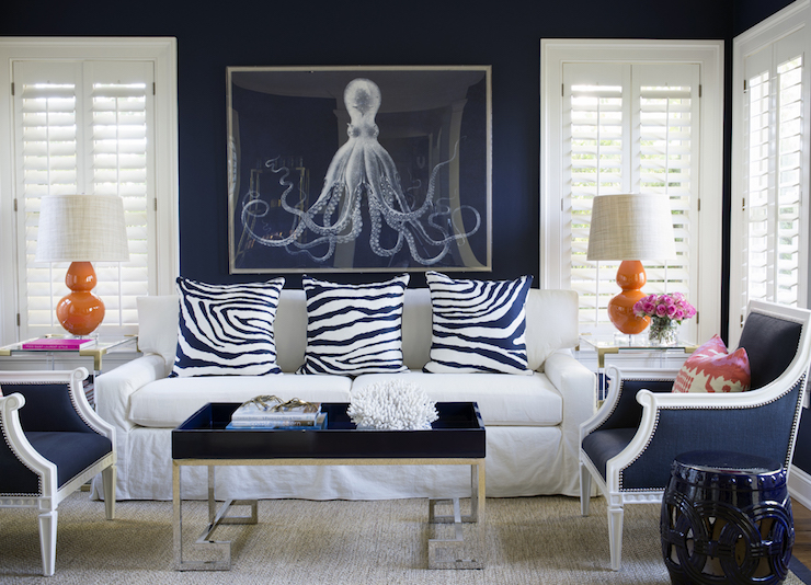 Living-rooms Navy Blue Pillows Design Ideas