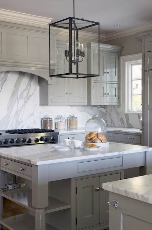 Glossy Gray Cabinets with White Marble Top  Transitional