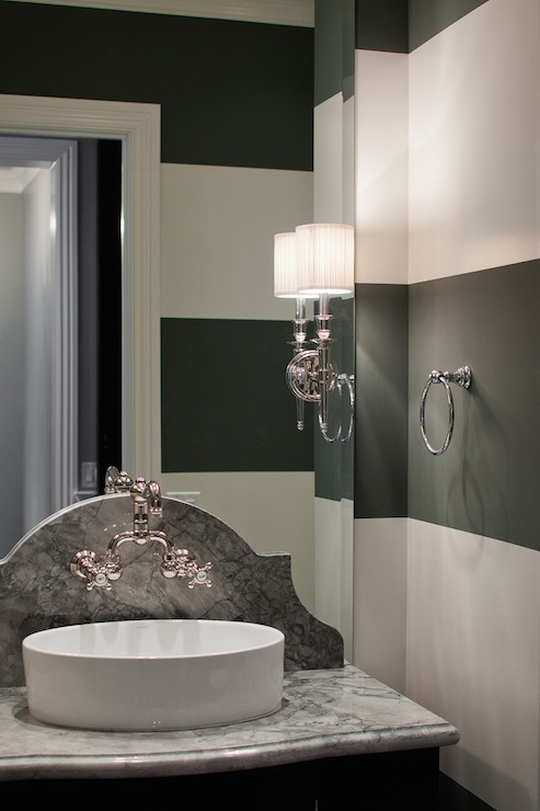 Powder Room with Black and White Striped Walls  Contemporary  Bathroom