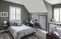 Gray Boys Bedroom with Black Bunk Beds - Contemporary ...