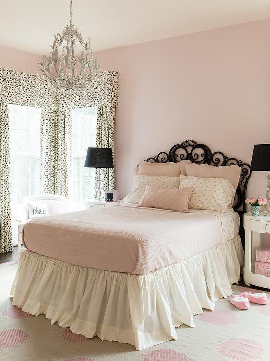 Pink and Black Girls Bedroom  Transitional  Girls Room