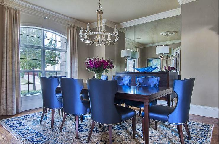 royal blue chairs hanging chair round dining traditional room