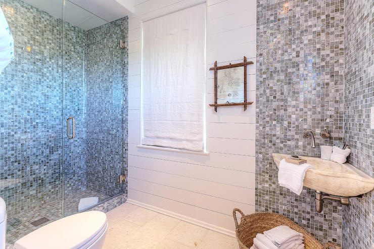 Bathroom with Gray Glass Mosaic Tiles