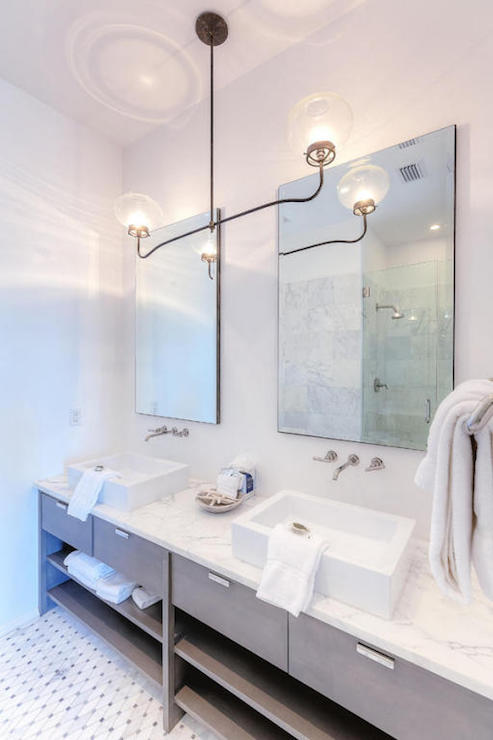 White Double Washstand with Gray Quartz Countertop