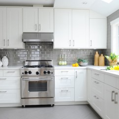 Gray Subway Tile Kitchen Curtain For White With Grey Tiles Transitional