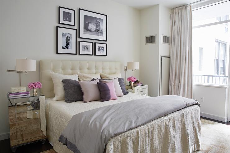 Cream Tufted Headboard  Transitional  bedroom  Alice