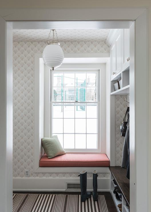 Mudroom with Builtin Window Seat  Transitional  Laundry