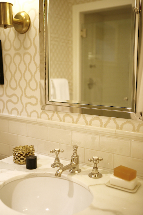 Bathroom with Ivory Subway Tiles  Transitional  Bathroom