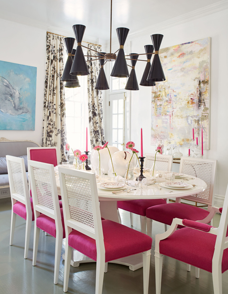 White Oval Dining Table With Hot Pink Dining Chairs Eclectic Dining Room