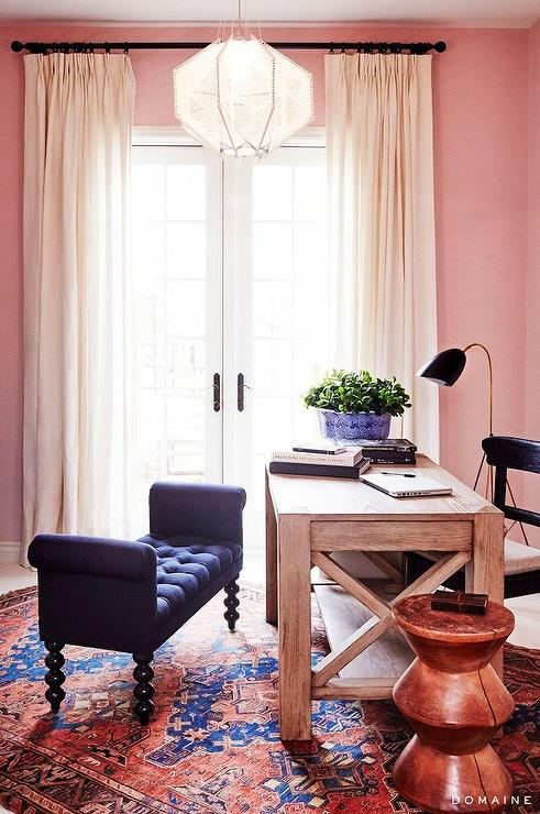 navy office chair steelers with pink walls - transitional den/library/office