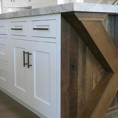 Oak Kitchen Islands Counter Backsplash Reclaimed Wood Island Design Ideas Amazing Features An X Based Fitted With Planks And White Shaker Cabinets Adorned Oil Rubbed Bronze Pulls Topped Gray