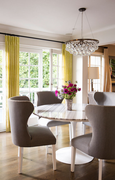 Gray Yellow Curtains  Transitional  dining room