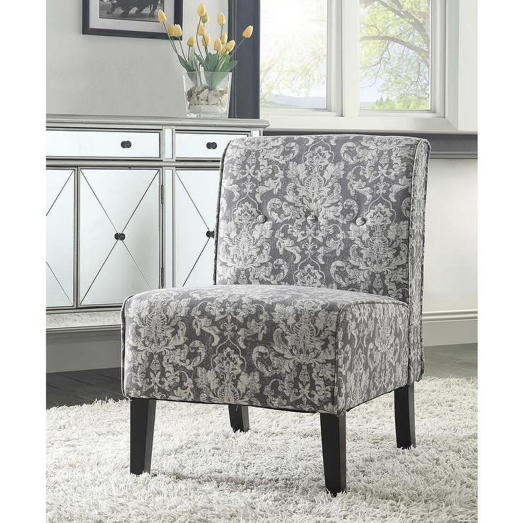 accent chairs gray pattern chair covers home outfitters linon coco grey damask