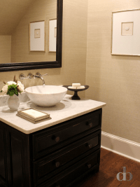 Tan and Black Powder Rooms - Transitional - Bathroom