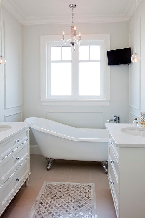 Corner TV Over Tub  Transitional  Bathroom  Benjamin Moore Dove Wing