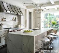 Calcutta Gold Marble Kitchen Island Design Ideas