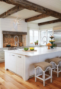 Country Kitchen with Rustic Wood Ceiling Beams - Country ...