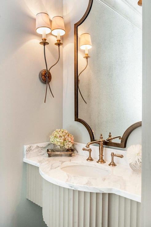French Powder Room with Brass Accents  Transitional