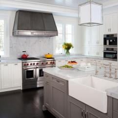 Beadboard Kitchen Island Cabinet Door Moulding With Farmhouse Sink - Transitional